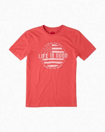 Men's Land of the Free Crusher Tee in Americana Red