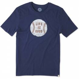 Life is Good Men's Vintage Baseball Crusher Tee in Darkest Blue