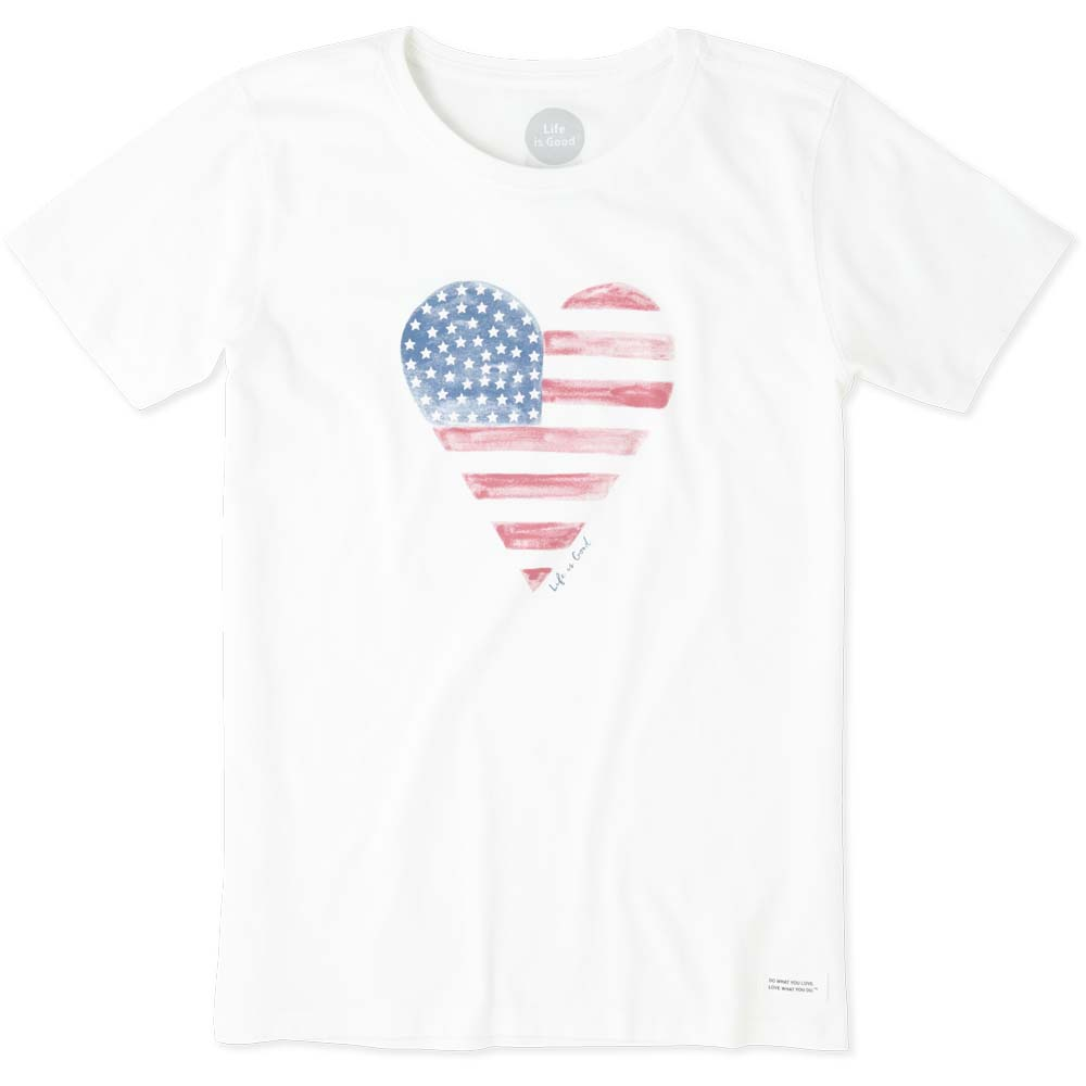 Life is Good Women's Watercolor American Flag Heart Crusher Tee