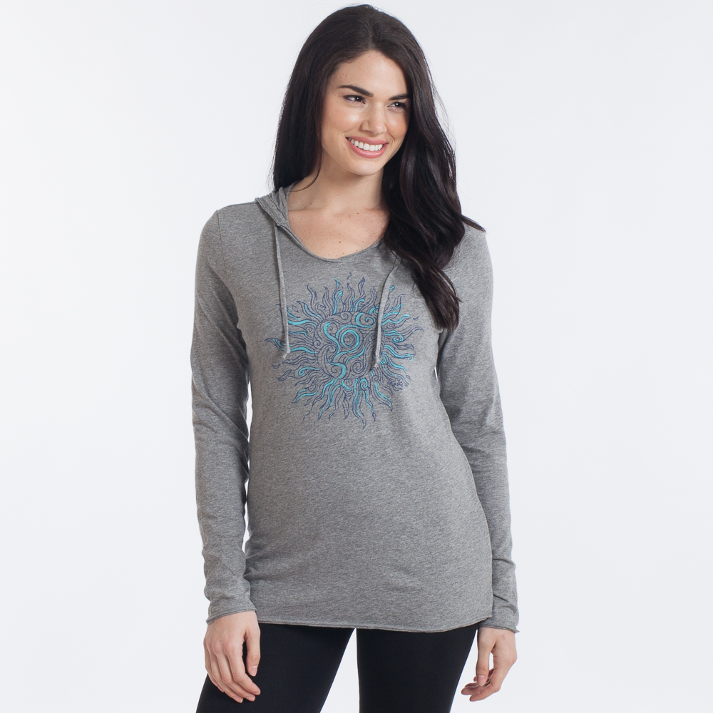 Life is Good Women's Sun Long Sleeve Hooded Smooth Tee