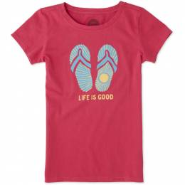 Life is Good Girl's Life is Good Flip Flops Crusher Tee