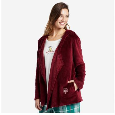 Women's Sleep Hoodie in Cranberry Red