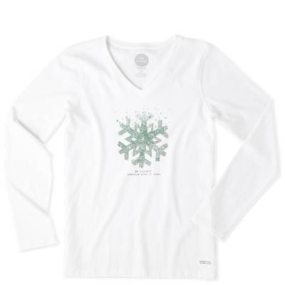 Women's Be Yourself Snowflake Long Sleeve Crusher Vee