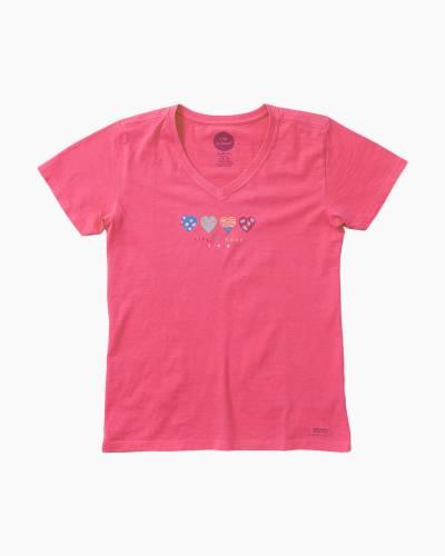 Women's 365 hearts Crusher Vee Tee in Pink