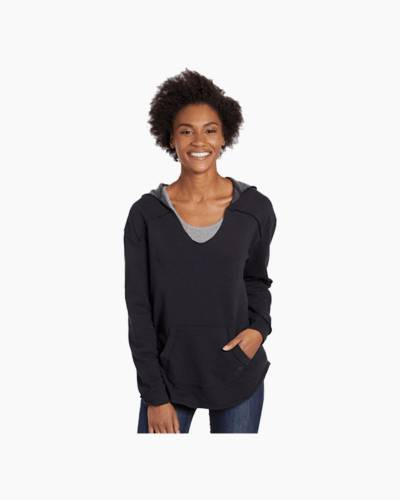 Women's Simply True Exposed Seam Hoodie in Night Black