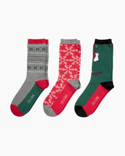Women's Good Vibes Holiday Crew Socks Bundle (3-Pack)