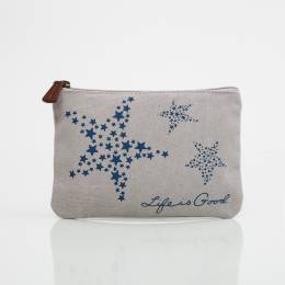 Life is Good Star Zippered Canvas Pouch