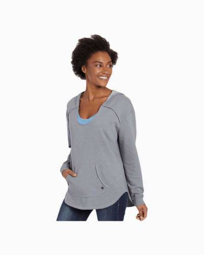 Women's Simply True Exposed Seam Hoodie in Dark Heather Gray