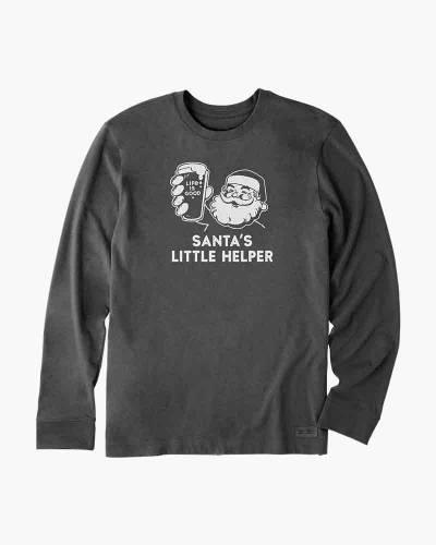 Men's Santa's Little Helper Long Sleeve Crusher Tee in Heather Night Black