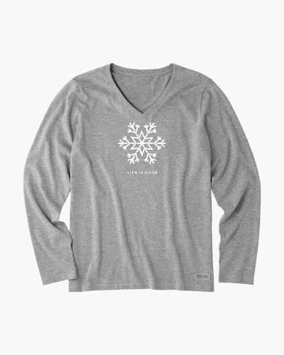 Women's Snowflake Long Sleeve Crusher Vee Tee