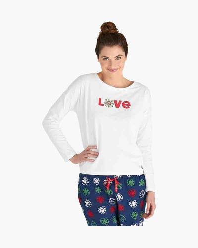 Women's Love Snowflake Snuggle Up Relaxed Sleep Long Sleeve Tee