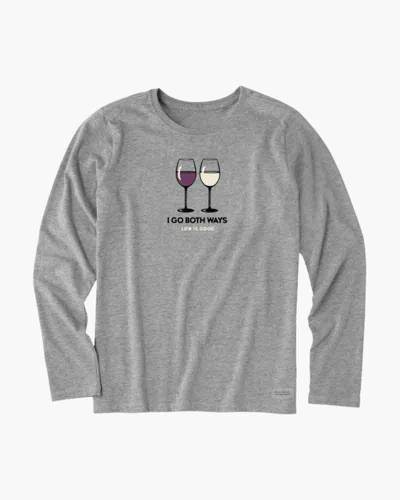 Women's Red and White Wine Long Sleeve Crusher Tee