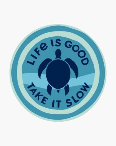Take it Slow Turtle Circle Sticker
