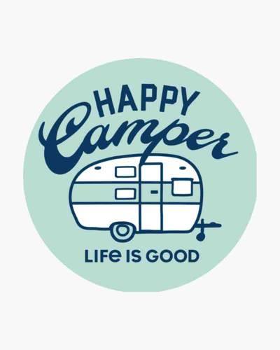 Happy Camper Circle Sticker