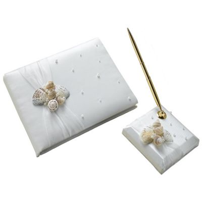 Seashell Ivory Satin Guest Book and Pen Set