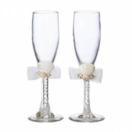 Lillian Rose Seashell Ivory Toasting Glasses