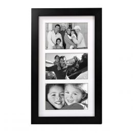 Malden Matted Black 3 Opening Wood Frame (4x6in)
