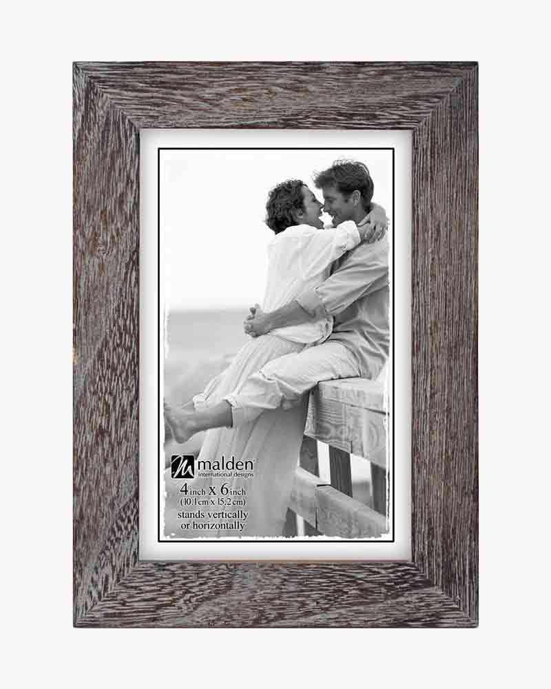 Malden Linear Rustic Wood Picture Frame in Rough Gray | The Paper Store