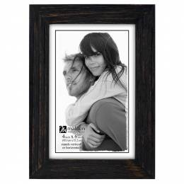Malden Linear Rustic Wood Picture Frame in Rough Black