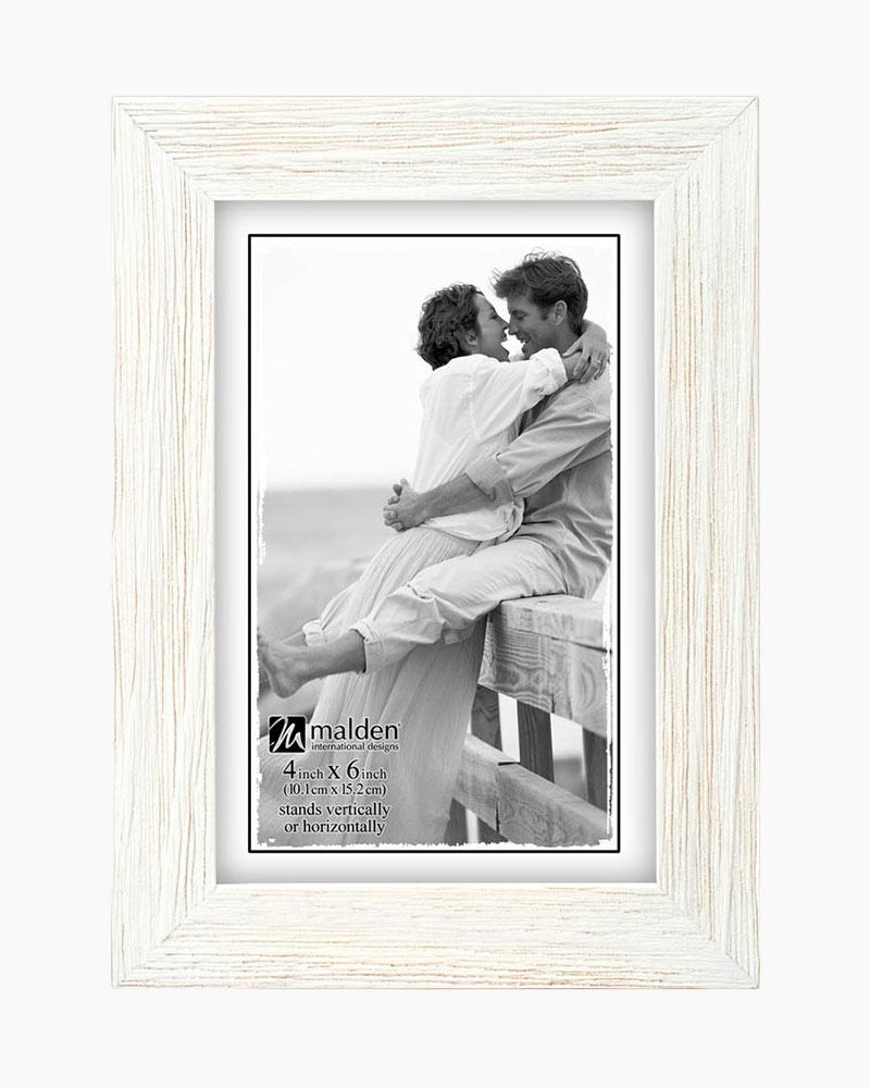 Malden Linear Rustic Wood Picture Frame in Rough White