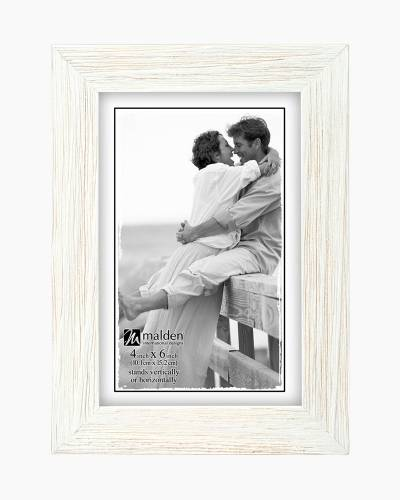 Linear Rustic Wood Picture Frame in Rough White