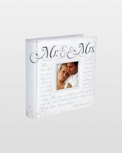 Mr. and Mrs. Corinthian Script Photo Album
