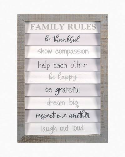 Family Rules Shutter Wall Sign