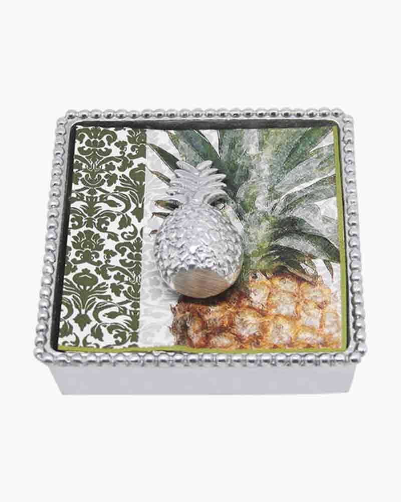 Mariposa Beaded Cocktail Napkin Box with Pineapple Weight
