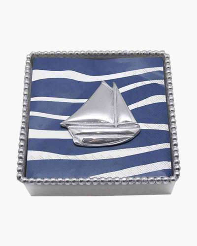 Twisted Cocktail Napkin Box with Sailboat Weight