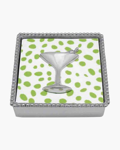 Beaded Napkin Box with Cocktail Glass Weight