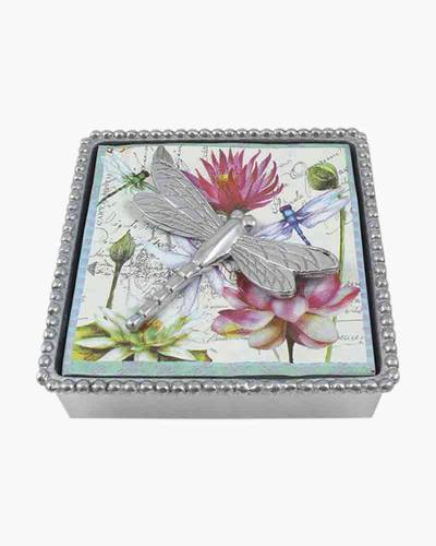 Beaded Napkin Box with Dragonfly Weight