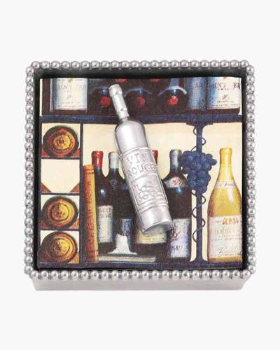 Beaded Napkin Box with Wine Bottle Weight