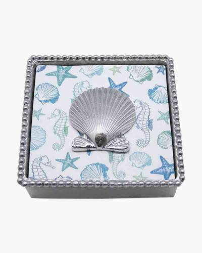 Beaded Napkin Box with Scallop Weight