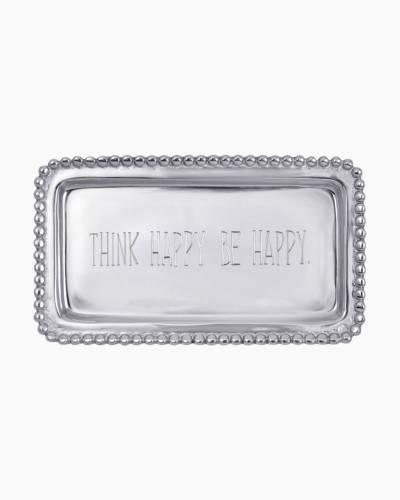 THINK HAPPY. BE HAPPY. Beaded Tray