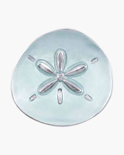Aqua Enamel Sand Dollar Canape Plate