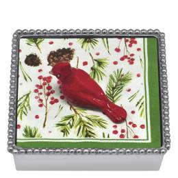 Mariposa Red Cardinal Napkin Box and Weight Set