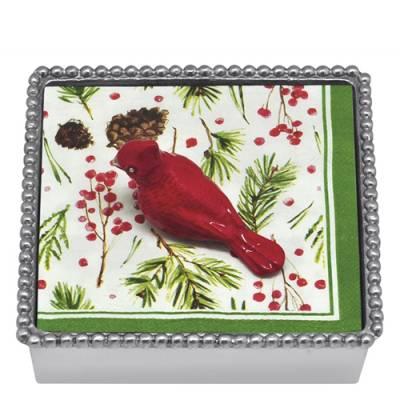 Red Cardinal Napkin Box and Weight Set