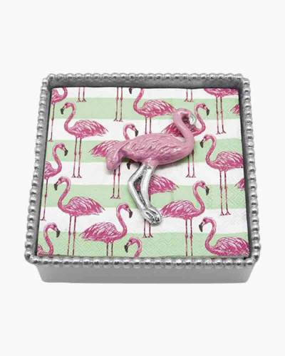 Pink Flamingo Beaded Napkin Box