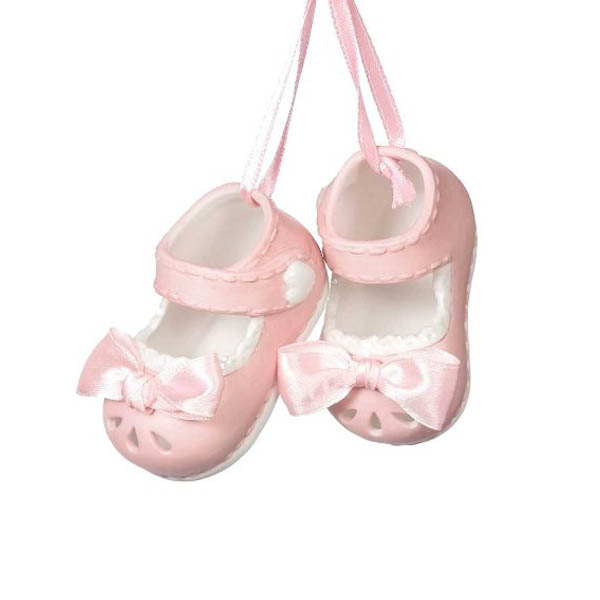 Midwest CBK Baby Girl Shoes Ornament (Set of 2)