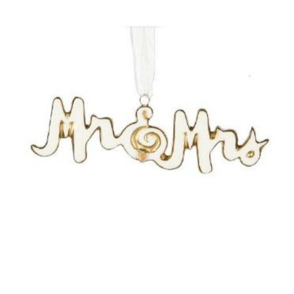 Midwest CBK Mr. and Mrs. Gold Outline Ornament