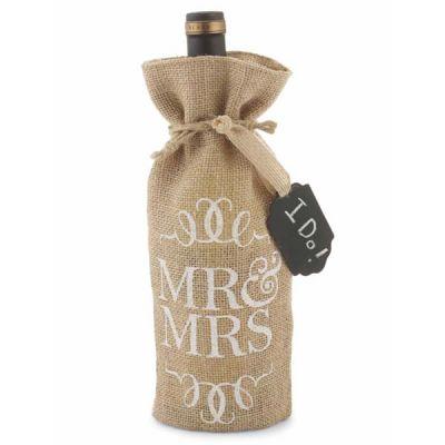 Mr. and Mrs. Burlap Wine Bag