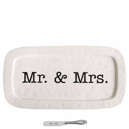 Mud Pie Mr. and Mrs. Wedding Hostess Tray Set