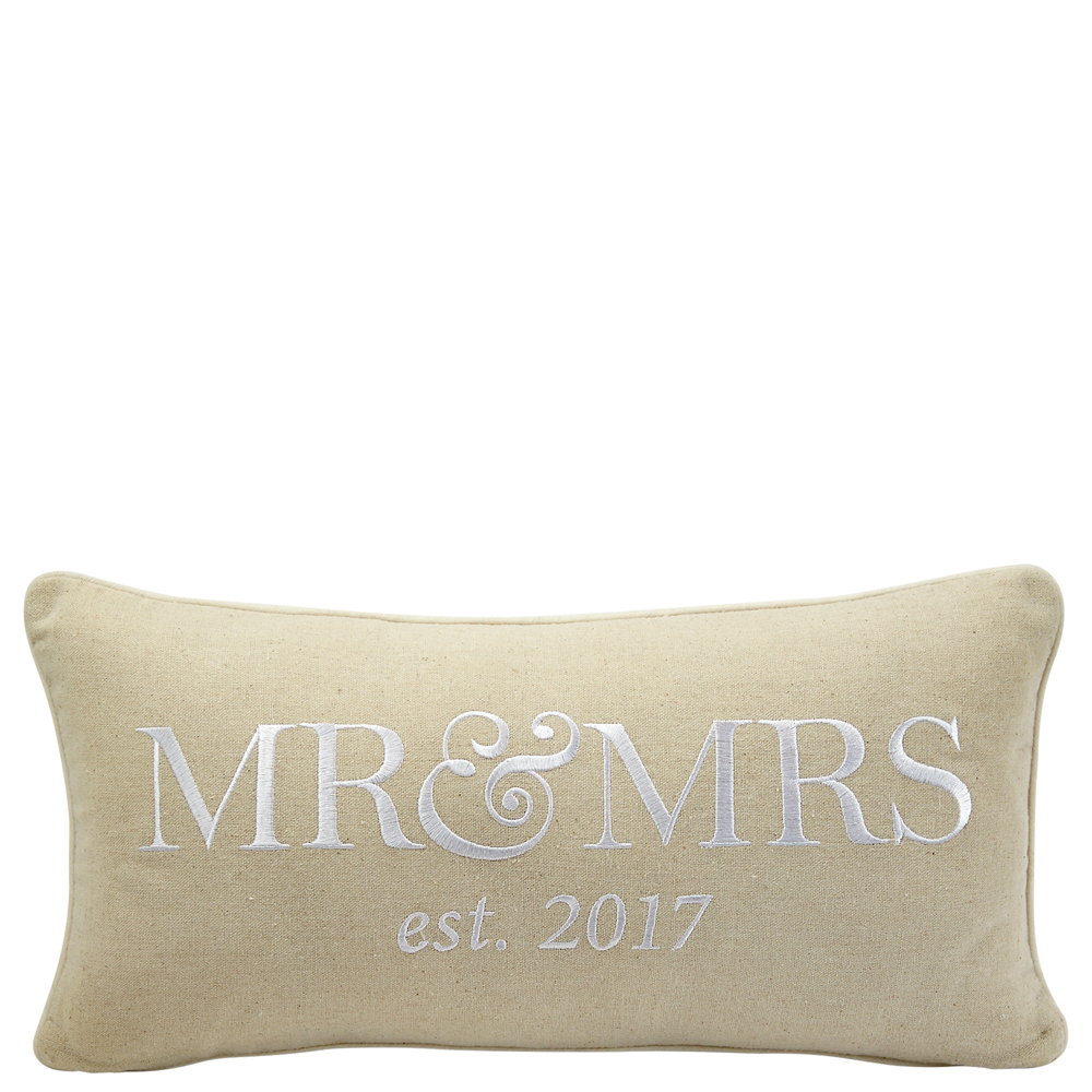 Mud Pie Mr. and Mrs. Accent Pillow