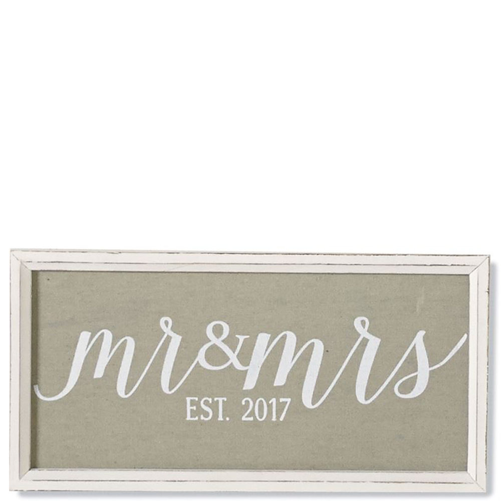 Mud Pie Mr. and Mrs. Wood and Linen Plaque