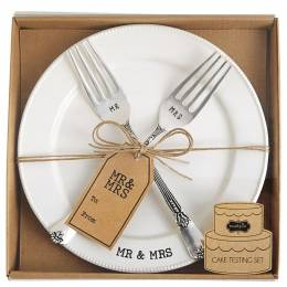 Mud Pie Mr. and Mrs. Fork and Plate Set