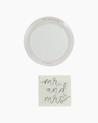 Mr. and Mrs. Ceramic Plate and Napkins Dessert Set