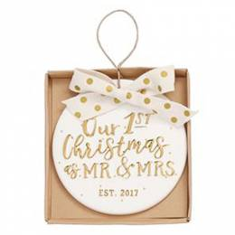 Mud Pie Mr. and Mrs. Our First Christmas Ornament
