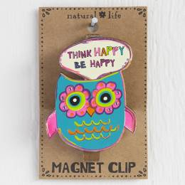 Natural Life Owl - Think Happy Magnet Clip