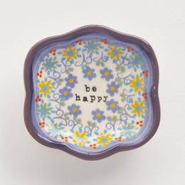Natural Life Be Happy Artisan Trinket Dish