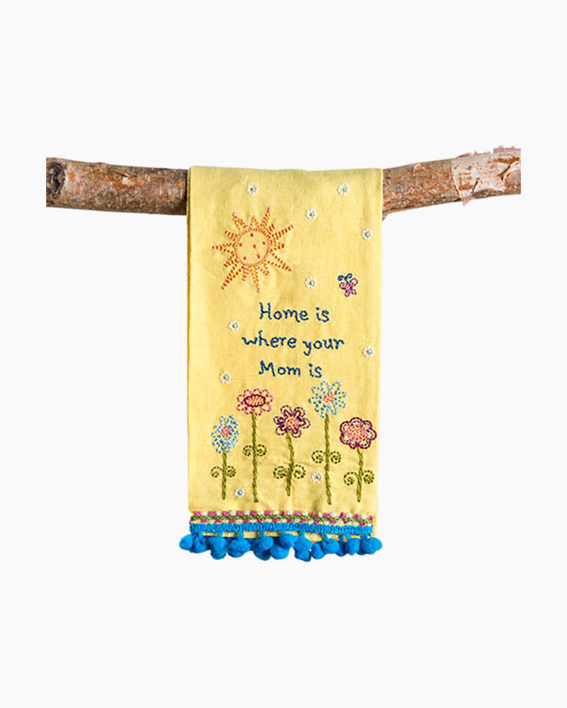 Natural Life Home is Where Mom is Linen Hand Towel
